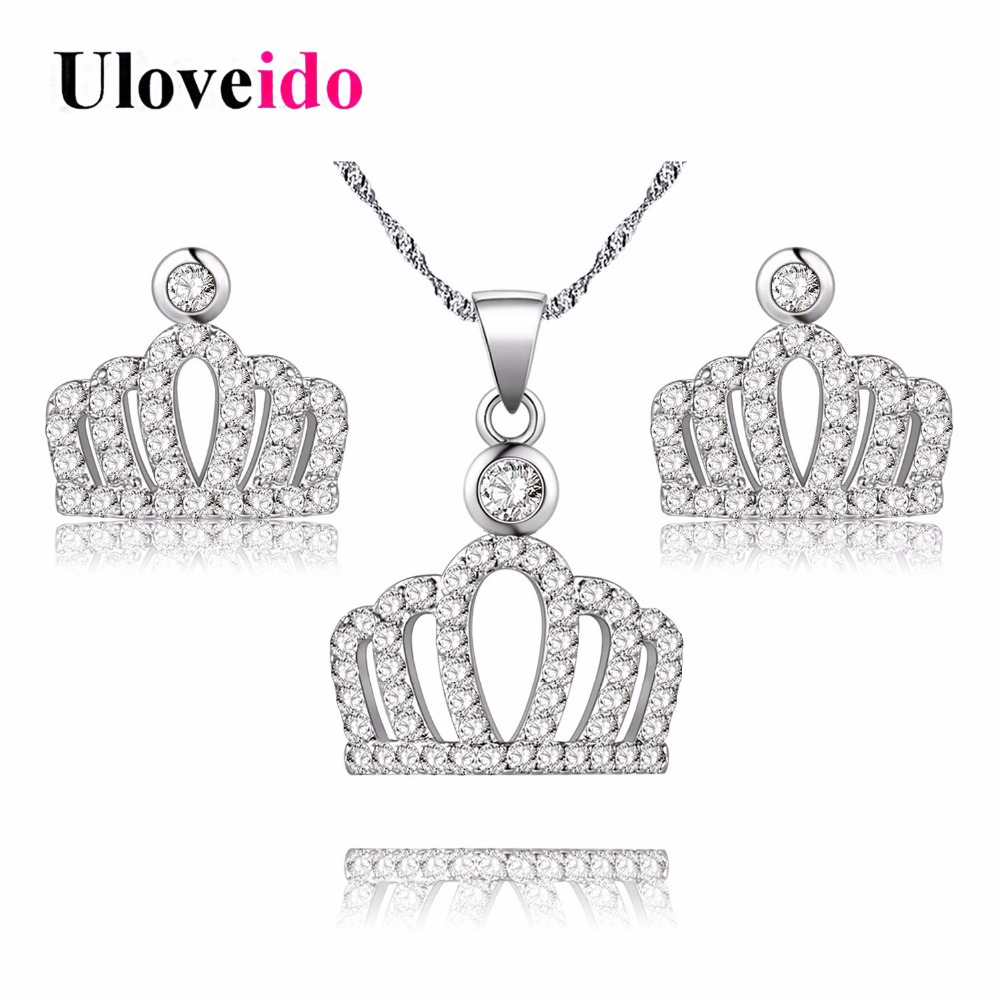 Princess coloring set - Uloveido 30 Off Princess Crown Silver Color Costume Jewelry Sets For Women Jewelry Set Necklace