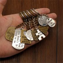 Vintage Key Car Keychains Text Tag Chain High Quality DIY Men Jewelry Ring Holder Souvenir For Gift