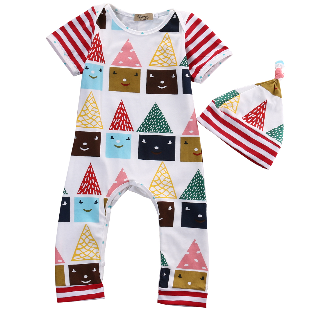 2PCS Infant Baby Boy Girl Infant short sleeve Romper houses  printed Jumpsuit Clothes Outfits Set AU