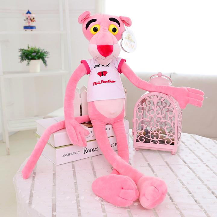 1pc 80cm Hot Sale Wear Clothes Lovely Leopard Wave Of Pink Panther Plush Toys t-shirts Pink Pinkpanther Doll birthday gift