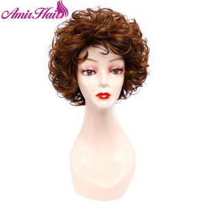 Image 5 - Pelucas cortas rizadas pelo sintético peluca corta negra y marrón para mujer Rubio degradado peluca completa Cosplay del pelo peluca fiesta Amir Hair