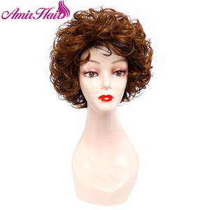 Image 5 - Short Curly Wigs Synthetic Hair Black Brown Short Wig for Women Ombre Blonde Full Wig Hair Cosplay Wig Party  Amir Hair