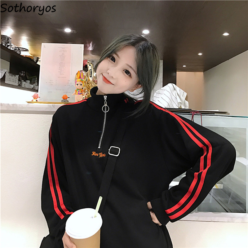Hoodies Women Zipper Stand Collar Long Sleeve Leisure Striped Pullovers Womens Harajuku Korean Style Students Sweatshirts Daily