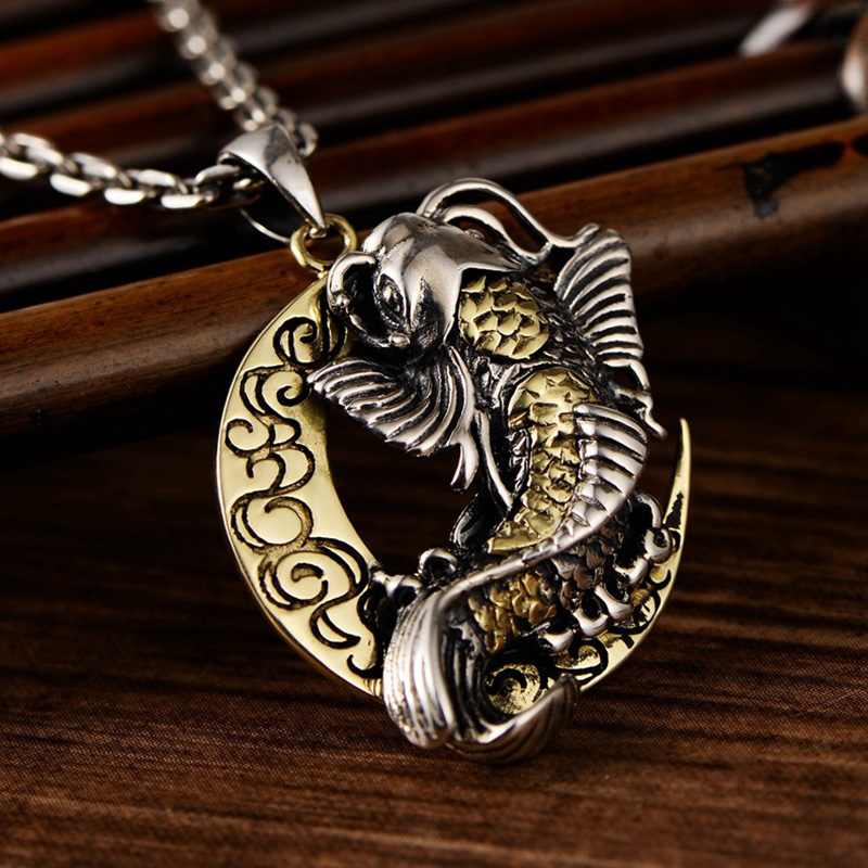 Thai Silver Moon And Cute Fish Pendant For Blessing Brimful Happiness Pure 925 Silver Jewelry Best Gift Talisman Amulet