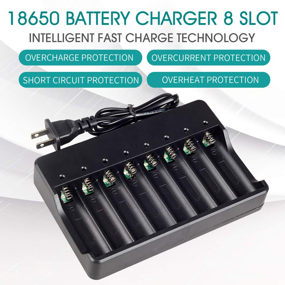 18650 Battery Charger 8 Bay for Rechargeable Batteries and Universal Smart Battery Charger for 18650|Chargers| |  - title=