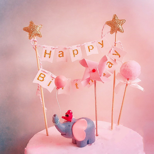 Blue Pink Elephant Balloon Lollipop Happy Birthday Collection Cake Topper Dessert Decoration For