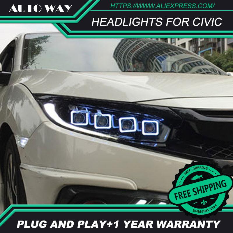 Car Styling Head Lamp case for Honda Civic 2016-2018 Headlights LED Headlight H7 D2H Hid Angel Eye Bi LED Xenon Beam auto part style led head lamp for porsche 997 series led headlights for 997 drl h7 hid bi xenon lens angel eye low beam