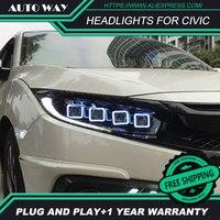 Car Styling Head Lamp case for Honda Civic G10 MK10 Bugatti 2016 2018 Headlights LED Headlight Hid Angel Eye Bi LED Xenon Beam