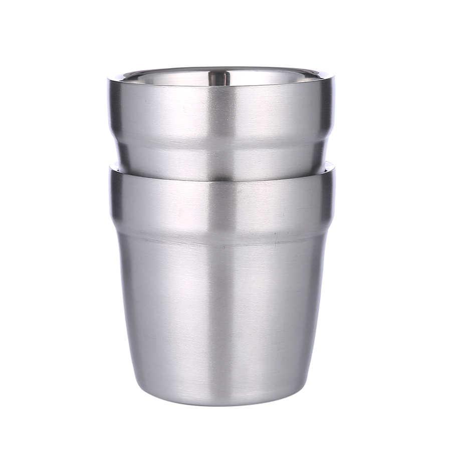 Biubiutua 4 pces 175ml parede dupla 304 aço inoxidável gelo caneca de água fria copo de cerveja bilayer café leite chá suco de limão caneca 300ml