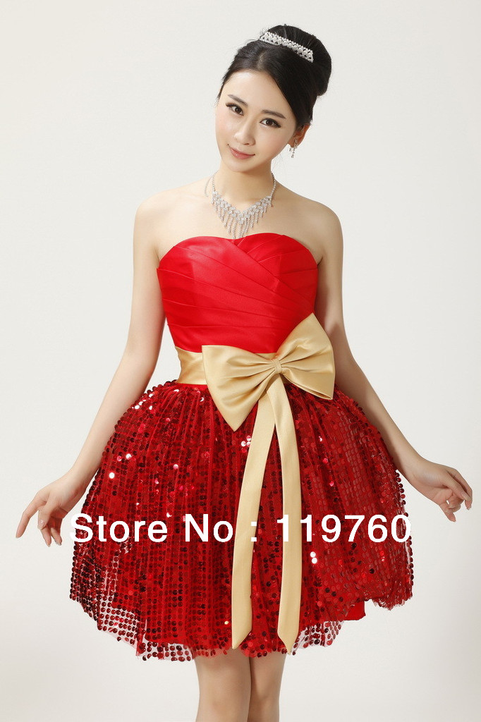 e35f44c7e4 2014 New Fashion Sweet Bowknot Short Prom dresses red Colors bubble skirt  Bridesmaid Dress Empire Plus Size Free Shipping Z126-in Prom Dresses from  Weddings ...