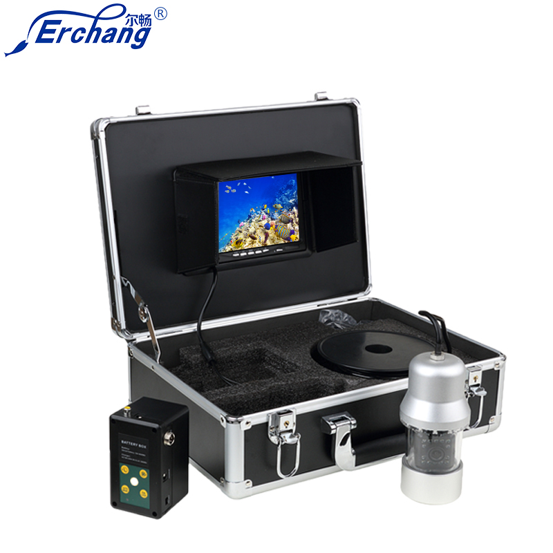 Erchang WF08魚群探知機360度HDパンニングカメラ18PCS LEDとDVR録画ビデオ魚釣り英語&ロシア語EYOYO