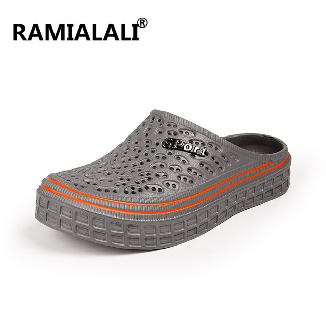 6af8b0277c1b Ramialali Water Anti-Slip Shoes Sandalias Hombre Jelly Summer Fashion Men  Hollow Sandals Casual Breathable Beach Slippers