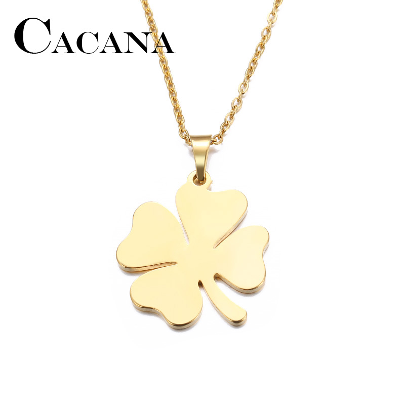 Stainless Steel Necklace For Women Man Lover's Clover Gold And Silver Color Pendant Necklace Engagement Jewelry