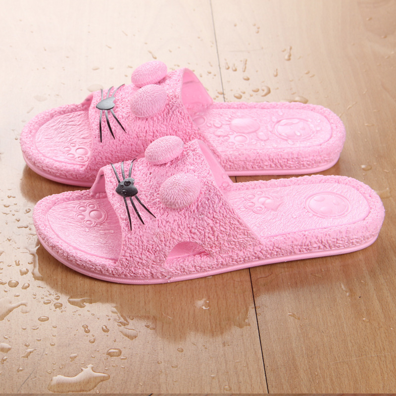 IVI for women Indoor Floor cute cat face cartoon Slippers Anti slip Home Shoes Bath Slipper