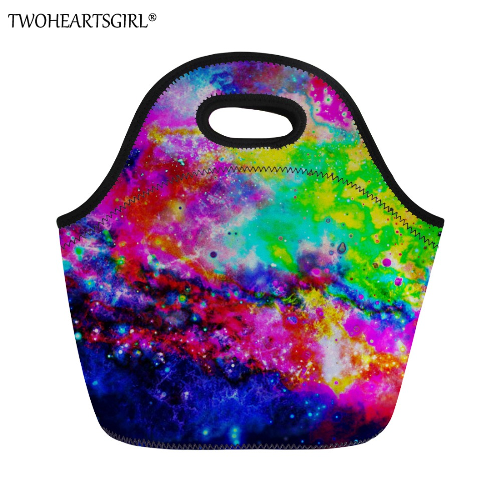TWOHEARTSGIRL Galaxy Star Printing Brand Lunch Bag Kids Picnic Bag Storage Food Thermal Insulated Lunch Box Students Lunch Bags