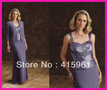 Formal Purple Custom Made Chiffon Long Mother of the Bride Dresses With Jacket M524