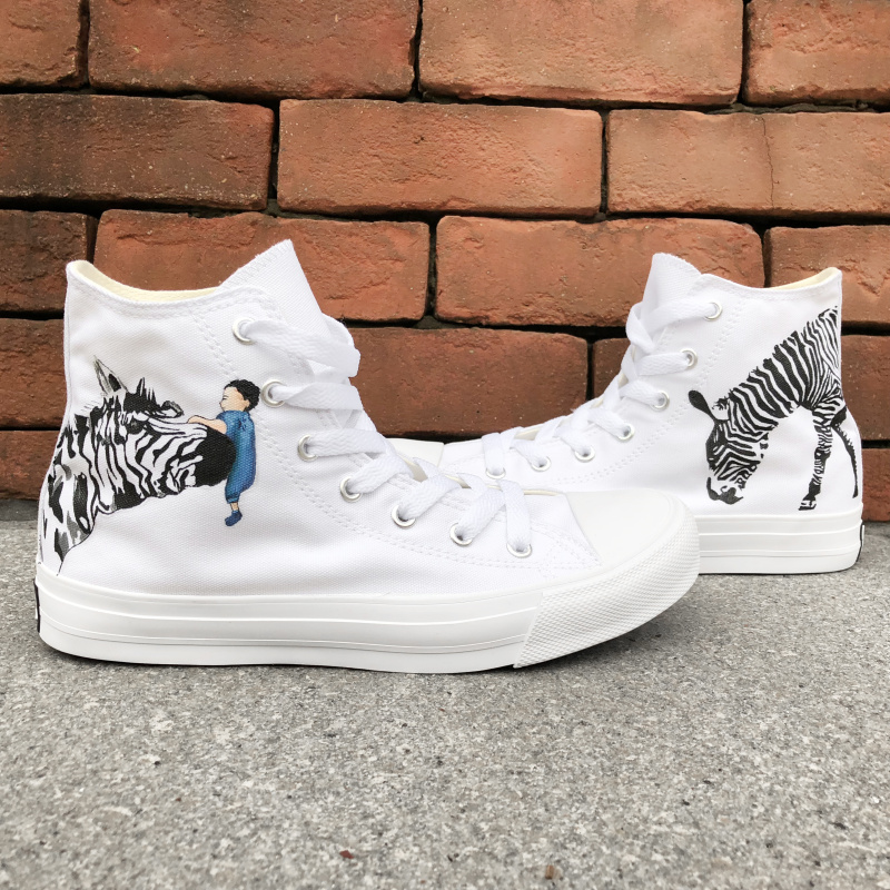 Wen Man Woman Canvas Sneakers Animal Zebra Hand Painted Shoes Original Design Color Drawing High Top White Skateboarding Shoes wen giraffe canvas shoes classic white hand painted animal sneakers sports high top skateboarding shoes for man woman