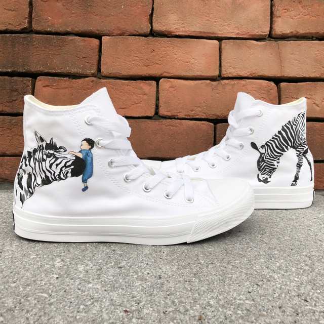 shoes drawing designs art wen man woman canvas sneakers animal zebra hand painted shoes original design color drawing high top