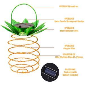 Image 5 - 2 szt. Na zewnątrz wodoodporny ogród ananas lampa słoneczna lampka ogrodowa wiszące lampki 20 panel słoneczny ciepły wróżka ciąg dekoracji