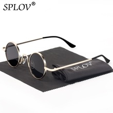 SPLOV Vintage Rap Sunglasses Men Women Steam Punk Style Hip-Hop Small Round Metal Frame Eyewear Retro Gafas De Sol No Case