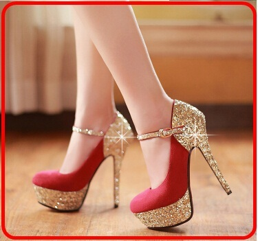 791d8805d107 Women Gold Pumps Bridal Shoes Sexy Party Luxury Ankle Strap Pump Thin Heel  Sequins Red Sole Crystal High Heels Wedding Shoes Bk