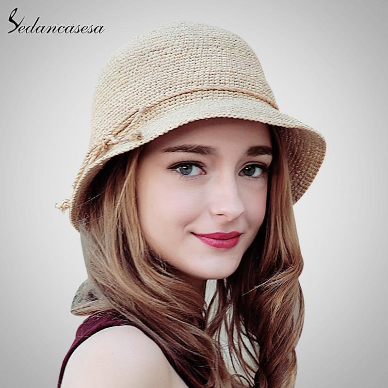 197503539247e Sedancasesa moda mujeres paja rafia ganchillo sombrero sombreros verano ala  ancha sombrero para damas bowknot plegable Sol playa sw105110 en Las  mujeres ...