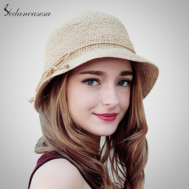 23ffdfceb6fd7 Sedancasesa moda mujeres paja rafia ganchillo sombrero sombreros verano ala  ancha sombrero para damas bowknot plegable