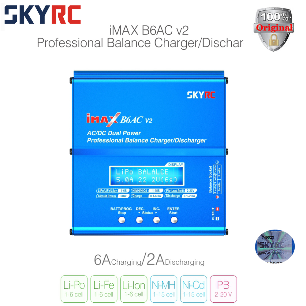 Prix pour 100% D'origine SKYRC IMAX B6AC Chargeur 50 W Lipo Équilibre de La Batterie RC Déchargeur Hélicoptère Quadcopter Avec Power Adapter