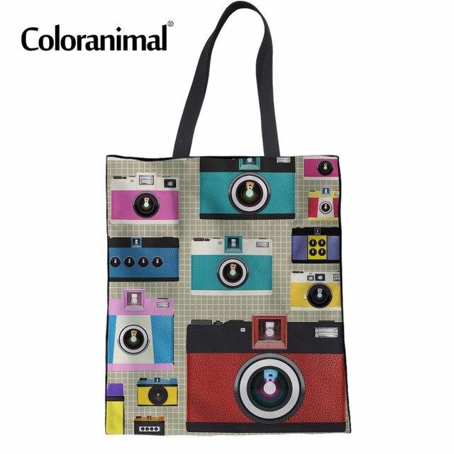 Coloranimal Women s Foldable Handbags Fashion Casual Canvas Reuable Cotton Tote  Bag Camera Print Girl School Bag Shopper Bag New 8115bda4dfbd0