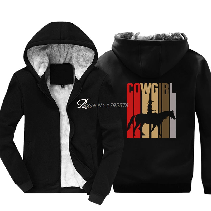 Retro Cowgirl Western Hoodie Horse Rider Winter Thicken Cotton Sweatshirt Cool Jackets Tops Harajuku Streetwear-in Hoodies & Sweatshirts from Men's Clothing