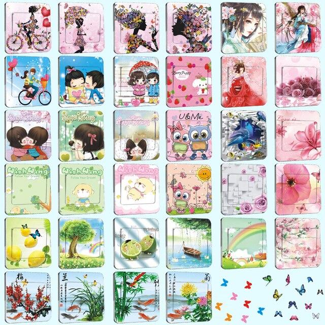 1Pcs/Set Light Switch Sticker Cute Lovers Kids Creative Home Decoration Bedroom Parlor Decoration Vinyl Potter Free Shipping 90