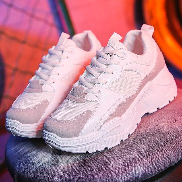 Phụ nữ Giày 2019 New Chunky Sneakers Đối Với Phụ Nữ Vulcanize Giày Thời Trang Giản Dị Giày Cha Nền Tảng Sneakers Giỏ Femme Krasovki