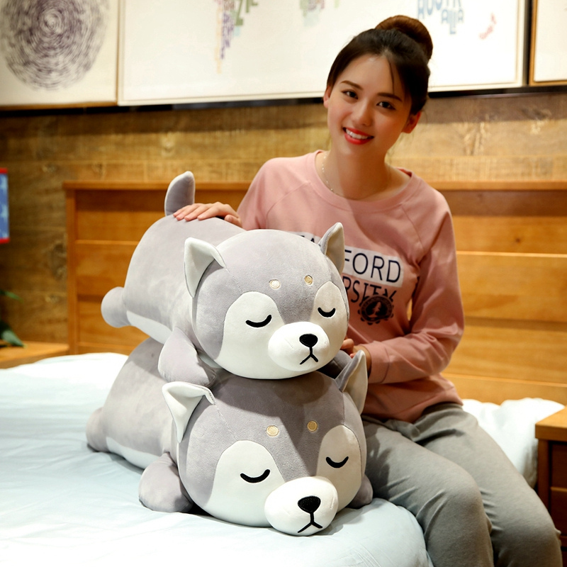 35-75cm Cute Husky& Shiba Inu Corgi Plush Toy Stuffed Soft Animal Dog Pillow Christmas Gift Peluche For Kids GirlsKawaii Present