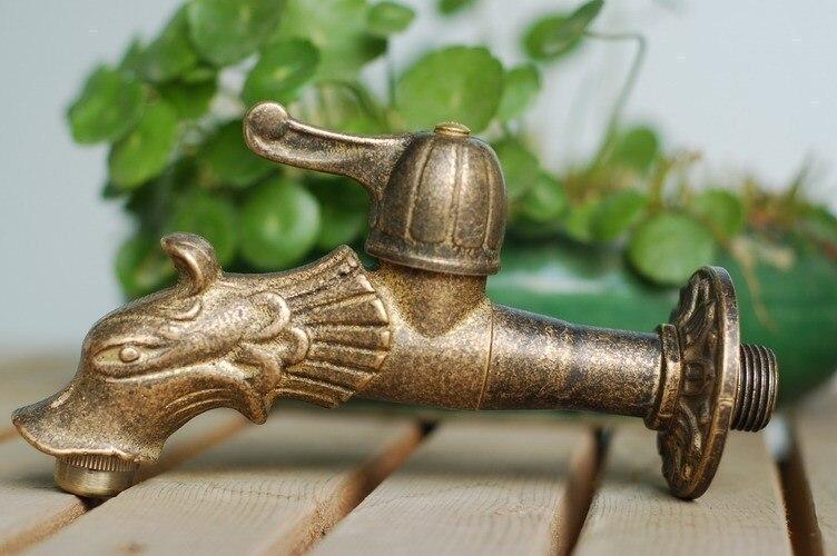 Livraison gratuite Dragon forme animale jardin Bibcock style Rural antique bronze Dragon robinet avec robinet extérieur décoratif pour jardin