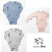 Merino wool thermal baby bodysuit girl rompers boys newborn unisex baby body long sleeve kid clothes