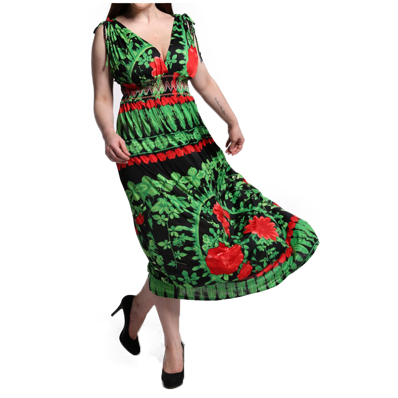 FS 5XL 6XL 7XL Sexy Maxi Plus Size Fitted Dress Women Sleeveless Clothing  Flower Print Elegant Bohemia Beach Long Dresses-in Dresses from Women s  Clothing ... 9ac7fadc8564