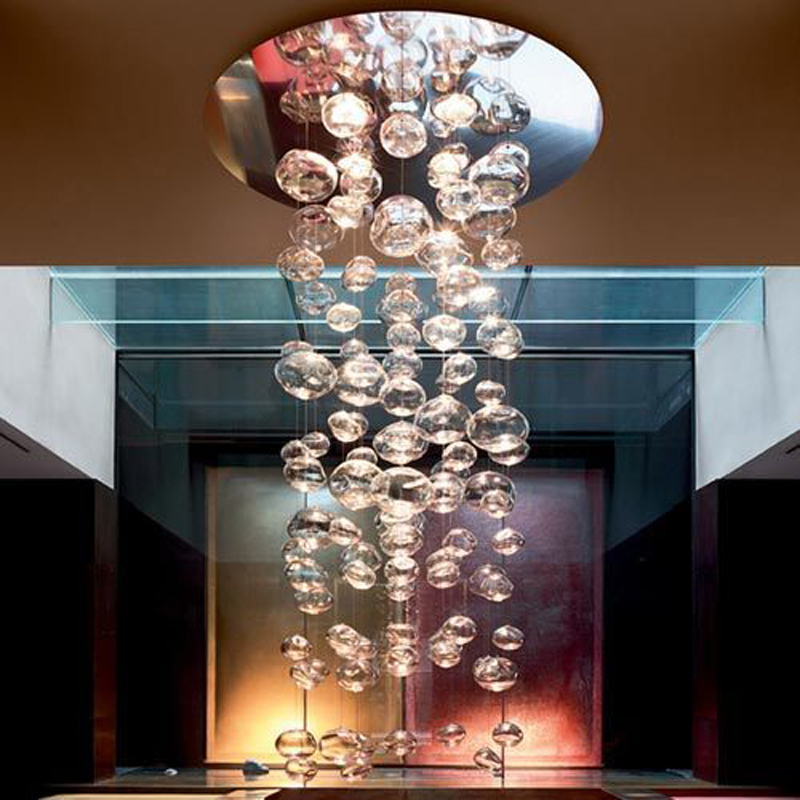ZX Modern LED Glass Ball Chandelier Bubble Design Living Room Restaurant Hanging Lamp Bedroom Droplight Hotel Lighting Fixture modern crystal chandelier led hanging lighting european style glass chandeliers light for living dining room restaurant decor