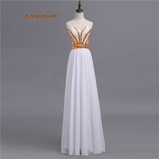 89d3454629 Long A-Line Prom Dresses Sexy Backless Crystals Beaded White Women Party Formal  Evening Prom Dress Gown for Graduation