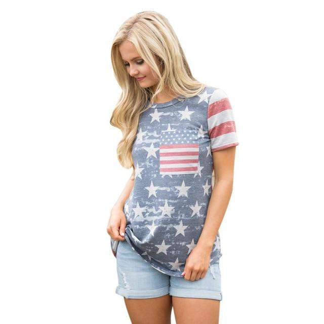 Urban Patriotic Fashion Fashion Print American Flag Women Shirt Short Sleeve Harajuku Shirt Women Clothes 2XL Loose Summer Tops Camiseta Mujer#9021