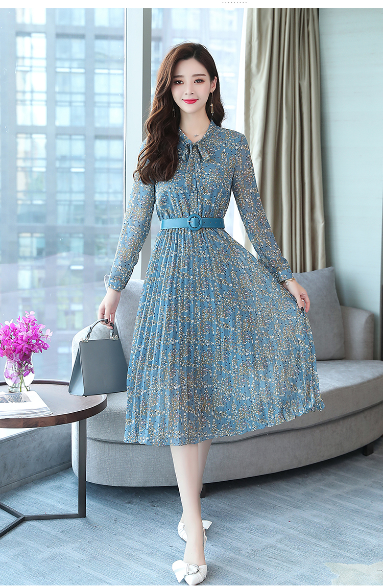 2019 Autumn Winter Vintage Chiffon Floral Midi Dress Plus Size Maxi Boho Dresses Elegant Women Party Long Sleeve Dress Vestidos 72