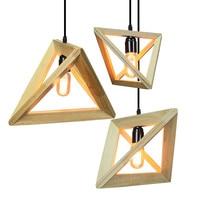 Vintage wood pendant light indoor LED modern lamp Nordic restaurant bar coffee shop dining room ceiling hanging lighting fixture