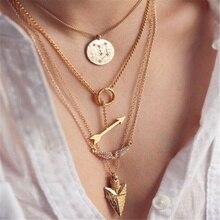 цена на ZCHLGR  Multilayer arrow Choker Necklace Boho Vintage Alloy Beads Angel Sun crystal Pendant Long Necklace Women Jewelry
