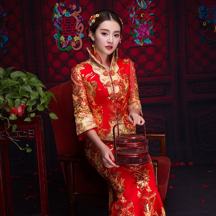 2019 Oriental Asian Bride Beauty Chinese Traditional Wedding Dress