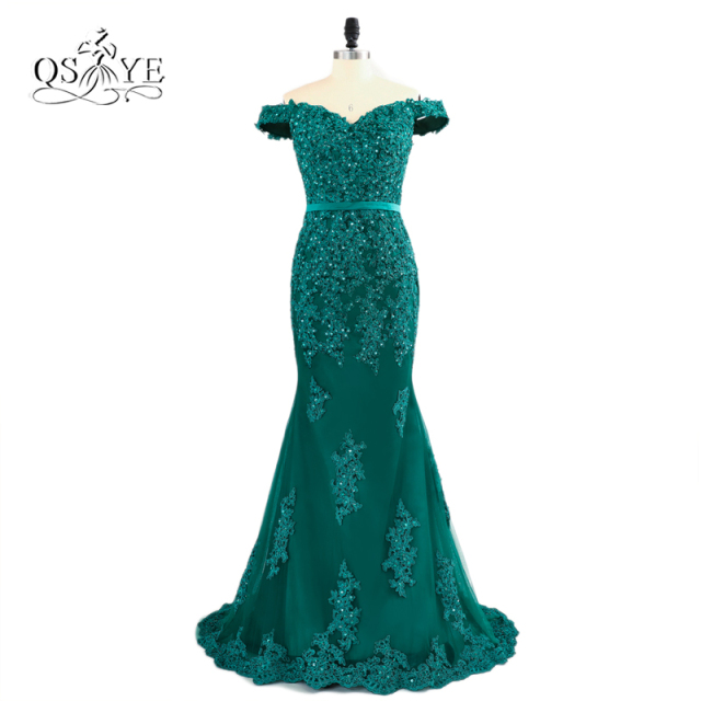 Teal Green Off The Shoulder Prom Dresses 2018 Modest Robe De Soiree ...