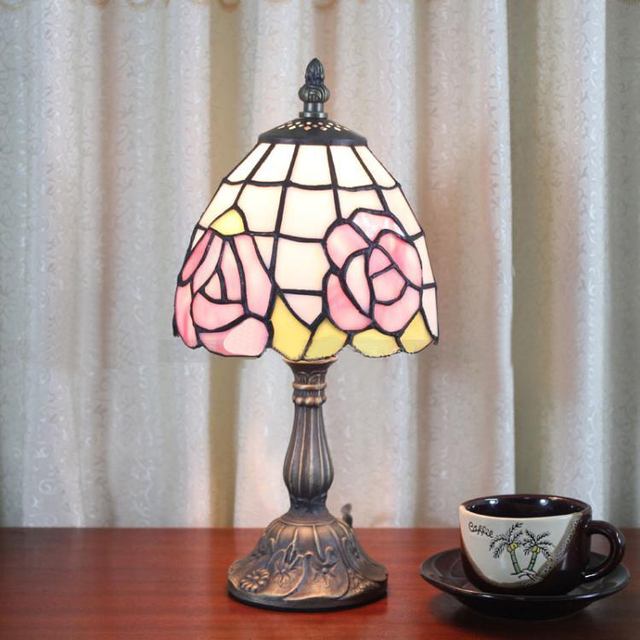 6 inch pink rose lamp minimalist small stained glass tiffany lamps pink living room dinning room
