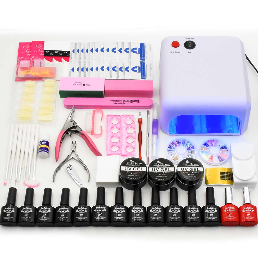 nail set 36W UV LED lamp nail dryer & 12 colors nail gel polish Kit UV extension gel varnish & nail art tools manicure sets new 24w professional uv led nail gel 9c lamp of resurrection nail polish tools and portable five soaked nail gel art set