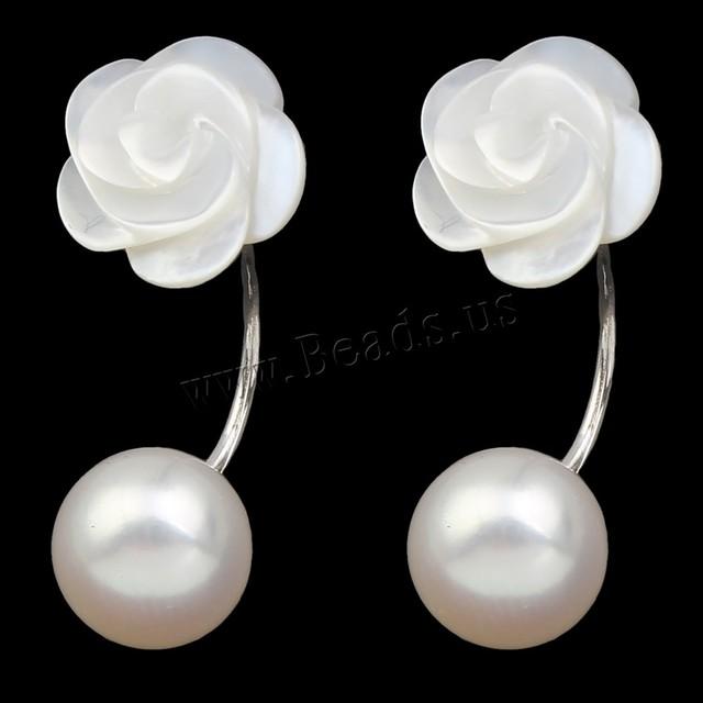 Mulheres moda jóias dupla face brinco Natural de água doce pérola dupla brincos de pérola Natural brincos