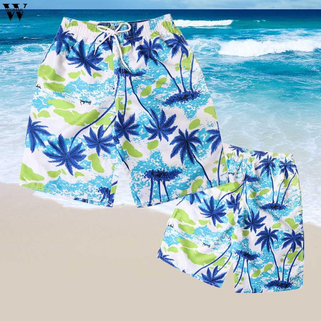 Summer Board Shorts Men Casual Printed Mid Beach Shorts Fashion Man Straight Drawstring Short Printed Waist Short Feb1