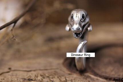Adjustable Dinosaur Ring Animal Unique Vintage Jewelry Free Size gift idea--12pcs/Lot(Antique Silver/Antique Gold 2 Colors)