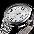 52 ММ Белый Циферблат ORKINA 2016 мужская Серебро Нержавеющая Сталь Мужские спорт Авто Дата Кварцевые Часы Reloj Hombre Часы Мужчины Heren Horloges